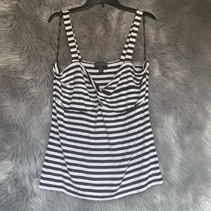 Forever 21+ Plus Black and White Striped Tank Top